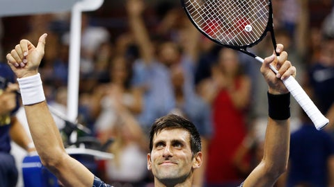 <p>               Novak Djokovic, of Serbia, celebrates after beating Tennys Sandgren, of the United States, during the second round of the U.S. Open tennis tournament Thursday, Aug. 30, 2018, in New York. (AP Photo/Jason DeCrow)             </p>