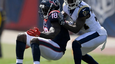 <p>               Los Angeles Rams cornerback Blake Countess, right, breaks up a pass intended for Houston Texans wide receiver Sammie Coates during the first half in an NFL preseason football game Saturday, Aug. 25, 2018, in Los Angeles. (AP Photo/Mark J. Terrill)             </p>