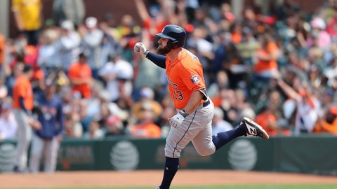 <p>               Houston Astros' Tyler White rounds the bases after hitting a two-run home run against the San Francisco Giants during the eighth inning of a baseball game in San Francisco, Tuesday, Aug. 7, 2018. (AP Photo/Scot Tucker)             </p>