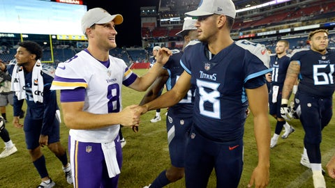 <p>               Minnesota Vikings quarterback Kirk Cousins, left, shakes hands with Tennessee Titans quarterback Marcus Mariota, right, after a preseason NFL football game Thursday, Aug. 30, 2018, in Nashville, Tenn. The Vikings won 13-3. (AP Photo/Mark Zaleski)             </p>