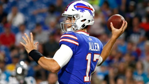 <p>               Buffalo Bills quarterback Josh Allen throws a pass against the Carolina Panthers during the second half of an NFL football game, Thursday, Aug. 9, 2018, in Orchard Park, N.Y. (AP Photo/Jeffrey T. Barnes)             </p>