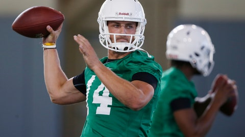 <p>               FILE - In this Thursday, Aug. 2, 2018, file photo, Oklahoma State quarterback Taylor Cornelius (14) throws during their first NCAA college football practice in Stillwater, Okla. Cornelius, a senior, was leading the pack at the end of the spring to become the starting quarterback. (AP Photo/Sue Ogrocki, File)             </p>