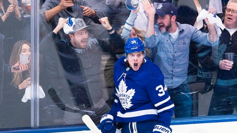 <p>               FILE - In this April 16, 2018, file photo, Toronto Maple Leafs center Auston Matthews (34) reacts after scoring against the Boston Bruins during second period NHL, round one playoff hockey game in Toronto. When the Arizona Coyotes moved to the desert in 1996, the youth hockey scene in the desert was nearly non-existent. With the help of the Coyotes and a big boost from Auston Matthews' popularity, Arizona has become one of the fastest-growing areas for grassroots hockey. (Nathan Denette/The Canadian Press via AP, File)             </p>