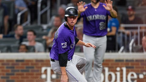 <p>               Colorado Rockies' Kyle Freeland scores on a two-run triple by Charlie Blackmon during the sixth inning of a baseball game against the Atlanta Braves in Atlanta, Friday, Aug. 17, 2018. (AP Photo/Danny Karnik)             </p>