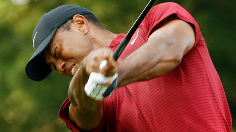 <p>               Tiger Woods hits from the 15th tee during the final round of the PGA Championship golf tournament at Bellerive Country Club, Sunday, Aug. 12, 2018, in St. Louis. (AP Photo/Charlie Riedel)             </p>