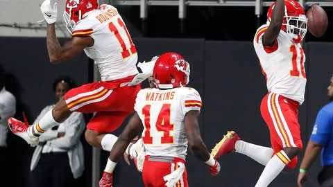 <p>               Kansas City Chiefs wide receiver Tyreek Hill (10) celebrates his touchdown with Kansas City Chiefs wide receiver Demarcus Robinson (11) against the Atlanta Falcons during the first half of an NFL preseason football game, Friday, Aug. 17, 2018, in Atlanta. (AP Photo/John Bazemore)             </p>