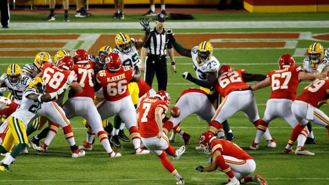 <p>               Kansas City Chiefs' Harrison Butker (7) kicks an extra point during the second half of an NFL preseason football game against the Green Bay Packers in Kansas City, Mo., Thursday, Aug. 30, 2018. (AP Photo/Charlie Riedel)             </p>