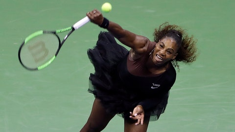 <p>               Serena Williams, of the United States, serves to Magda Linette, of Poland, during the first round of the U.S. Open tennis tournament, Monday, Aug. 27, 2018, in New York. (AP Photo/Jason DeCrow)             </p>