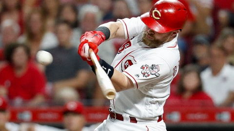 <p>               Cincinnati Reds' Tucker Barnhart hits a two-run double off Arizona Diamondbacks relief pitcher Archie Bradley in the eighth inning of a baseball game, Saturday, Aug. 11, 2018, in Cincinnati. (AP Photo/John Minchillo)             </p>