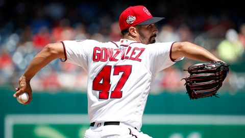 <p>               Washington Nationals starting pitcher Gio Gonzalez throws during the fifth inning of a baseball game against the Atlanta Braves at Nationals Park, Thursday, Aug. 9, 2018, in Washington. (AP Photo/Alex Brandon)             </p>