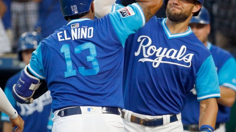 <p>               Kansas City Royals' Salvador Perez (13) celebrates with Alex Gordon after hitting a three-run home run during the first inning of a baseball game against the Cleveland Indians on Friday, Aug. 24, 2018, in Kansas City, Mo. (AP Photo/Charlie Riedel)             </p>