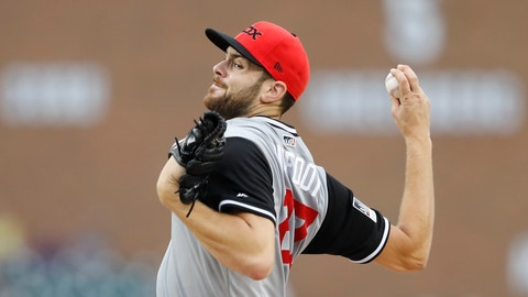 <p>               Chicago White Sox starting pitcher Lucas Giolito throws during the first inning of a baseball game against the Detroit Tigers, Saturday, Aug. 25, 2018, in Detroit. (AP Photo/Carlos Osorio)             </p>