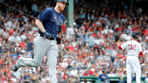 <p>               Tampa Bay Rays' C.J. Cron rounds the bases after his home run off of Boston Red Sox relief pitcher Matt Barnes (32) during the eighth inning of a baseball game Sunday, Aug. 19, 2018, in Boston. (AP Photo/Winslow Townson)             </p>