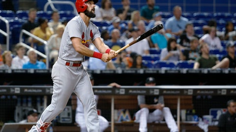 <p>               St. Louis Cardinals' Matt Carpenter watches his home run during the sixth inning of a baseball game against the Miami Marlins, Wednesday, Aug. 8, 2018, in Miami. (AP Photo/Wilfredo Lee)             </p>