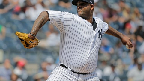 <p>               New York Yankees starting pitcher CC Sabathia throws during the first inning of a baseball game against the Texas Rangers at Yankee Stadium Sunday, Aug. 12, 2018, in New York. (AP Photo/Seth Wenig)             </p>