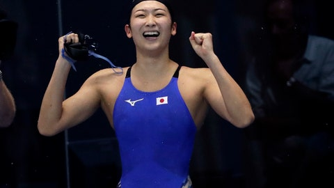 <p>               Japan's Rikako Ikee celebrates after winning the women's 50m freestyle final during swimming competition at the 18th Asian Games in Jakarta, Indonesia, Friday, Aug. 24, 2018. (AP Photo/Lee Jin-man)             </p>