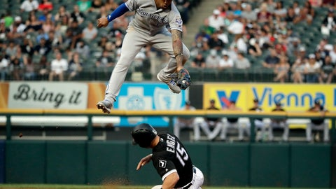 <p>               Chicago White Sox's Adam Engel, bottom, steals second as Kansas City Royals shortstop Adalberto Mondesi catches the ball during the third inning of a baseball game Saturday, Aug. 18, 2018, in Chicago. (AP Photo/Nam Y. Huh)             </p>