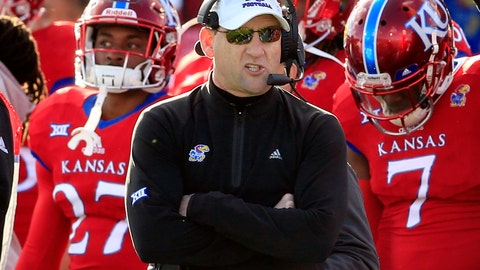 <p>               FILE - In this Nov. 18, 2017, file photo, Kansas head coach David Beaty watches during the first half of an NCAA college football game against Oklahoma in Lawrence, Kan. Kansas opens the season against Nicholls State on Saturday night with the future of coach Beaty likely on the line. (AP Photo/Orlin Wagner, File)             </p>