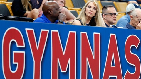 <p>               USA Gymnastics President and CEO Kerry Perry, middle, watches the U.S. Gymnastics Championships, Thursday, Aug. 16, 2018, in Boston. (AP Photo/Elise Amendola)             </p>