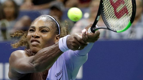 <p>               Serena Williams returns a serve by Carina Witthoeft, of Germany, during the second round of the U.S. Open tennis tournament, Wednesday, Aug. 29, 2018, in New York. (AP Photo/Julio Cortez)             </p>