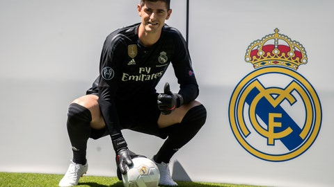 <p>               Belgian new Real Madrid soccer player Thibaut Courtois poses for the media during his official presentation for Real Madrid at the Santiago Bernabeu stadium in Madrid, Thursday, Aug. 9, 2018. Chelsea has sold a player — goalkeeper Thibaut Courtois — to Real Madrid. The Belgian was replaced by Kepa Arrizabalaga after Chelsea met the goalkeeper's 80 million euro ($93 million) buyout clause from Athletic Bilbao on Wednesday. (AP Photo/Andrea Comas)             </p>