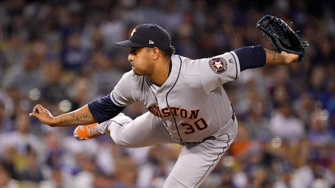 <p>               Houston Astros relief pitcher Hector Rondon throws during the ninth inning of the team's baseball game against the Los Angeles Dodgers on Friday, Aug. 3, 2018, in Los Angeles. (AP Photo/Mark J. Terrill)             </p>