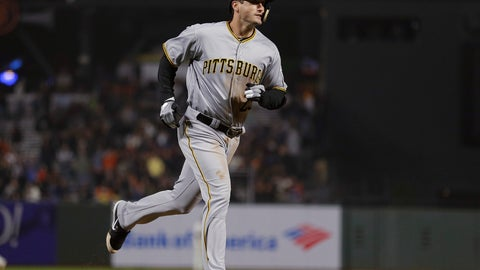 <p>               Pittsburgh Pirates' David Freese runs the bases after hitting a three-run home run off San Francisco Giants relief pitcher Derek Law during the seventh inning of a baseball game Thursday, Aug. 9, 2018, in San Francisco. (AP Photo/Eric Risberg)             </p>