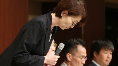 <p>               Yuko Mitsuya, the head of Japan Basketball Association, bows in apology during a press conference in Tokyo, Wednesday, Aug. 29, 2018.  Mitsuya made announcement that four Japanese basketball players who hired prostitutes during the Asian Games in Indonesia have been suspended from play for one year.  (AP Photo/Koji Sasahara)             </p>