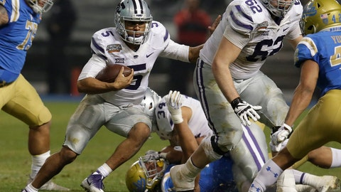 <p>               FILE - In this Dec. 26, 2017, file photo, Kansas State quarterback Alex Delton (5) runs with the ball in the second half during an NCAA college football bowl game against UCLA in Phoenix. Bill Snyder's record as a head coach is marvelous when he has a returning quarterback with big-game experience, and that should bode especially well for Kansas State this season.  That's because he has two of them.  (AP Photo/Rick Scuteri, File)             </p>