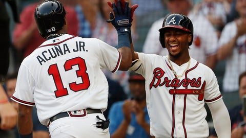 <p>               Atlanta Braves left fielder Ronald Acuna Jr. (13) celebrates with Ozzie Albies (1) after hitting a solo-home run in the first inning of the second baseball game of a doubleheader against the Miami Marlins Monday, Aug. 13, 2018 in Atlanta. (AP Photo/John Bazemore)             </p>
