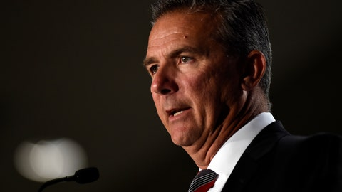 <p>               File-This July 24, 2018, file photo shows Ohio State head coach Urban Meyer speaking at the Big Ten Conference NCAA college football Media Days in Chicago. The Big Ten East has been called the toughest division in college football, and that's expected to be the case again this season even with the uncertainty surrounding Meyer and his defending conference champion Ohio State Buckeyes.  (AP Photo/Annie Rice, File)             </p>