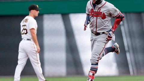 <p>               Atlanta Braves' Ronald Acuna Jr., right, rounds the bases near Pittsburgh Pirates second baseman Adam Frazier after hitting a solo home run during the first inning of a baseball game Wednesday, Aug. 22, 2018, in Pittsburgh. (AP Photo/Keith Srakocic)             </p>