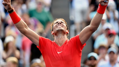 <p>               Rafael Nadal, of Spain, celebrates after defeating Stefanos Tsitsipas, of Greece, in the final of the Rogers Cup men's tennis tournament in Toronto, Sunday, Aug. 12, 2018. (Nathan Denette/The Canadian Press via AP)             </p>