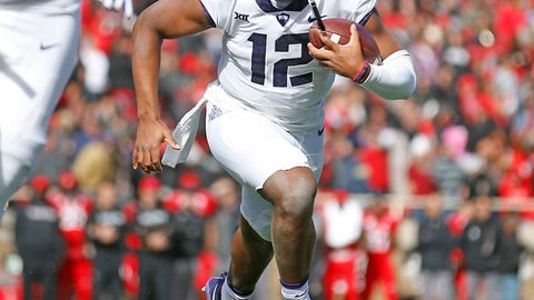 <p>               File- This Nov. 18, 2017, file photo shows TCU's Shawn Robinson (12) running down the field during the first half of an NCAA college football game against Texas Tech, Saturday in Lubbock, Texas.  Robinson won his only start last season, making the sophomore TCU's most experienced quarterback. Coach Gary Patterson has always said he judges quarterbacks by what they do on Saturdays. Robinson, filling in that mid-November day at Texas Tech for injured Kenny Hill, got a key victory that helped the Horned Frogs get into the Big 12 championship game on way to another 11-win season. (AP Photo/Brad Tollefson, File)             </p>