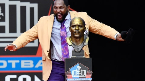 <p>               Former Baltimore Ravens linebacker Ray Lewis dances beside his bust as he delivers his induction speech at the Pro Football Hall of Fame Saturday, Aug. 4, 2018, in Canton, Ohio. (AP Photo/David Richard)             </p>
