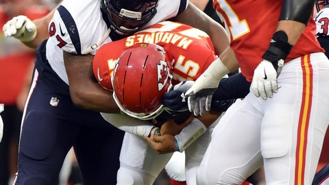 <p>               Houston Texans defensive end Angelo Blackson (97) sacks Kansas City Chiefs quarterback Patrick Mahomes (15) during the first half of an NFL preseason football game in Kansas City, Mo., Thursday, Aug. 9, 2018. (AP Photo/Ed Zurga)             </p>