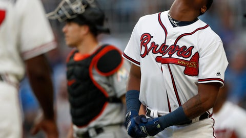 <p>               Atlanta Braves' Ronald Acuna Jr., right, reacts after being hit by a pitch from Miami Marlins'Jose Urena during the first inning of a baseball game Wednesday , Aug. 15, 2018 in Atlanta. Both dugouts emptied and Urena was ejected. Marlins catcher J.T. Realmuto is at rear. (AP Photo/John Bazemore)             </p>