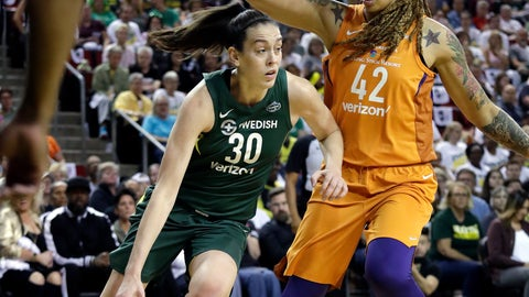 <p>               Seattle Storm's Breanna Stewart (30) tries to drive past Phoenix Mercury's Brittney Griner in the first half in a WNBA basketball playoff semifinal Tuesday, Aug. 28, 2018, in Seattle. (AP Photo/Elaine Thompson)             </p>