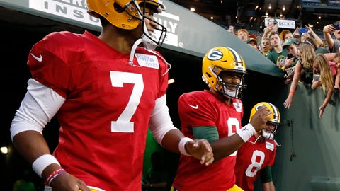 <p>               FILE - In this Aug. 4, 2018 file photo Green Bay Packers quarterbacks Brett Hundley (7) and DeShone Kizer (9) run onto Lambeau Field for the NFL football team's Family Night practice in Green Bay, Wis. Quarterback Tim Boyle is at right. The last two preseason games may determine whether Hundley or Kizer wins the backup quarterback job for the Green Bay Packers. It's a unique position because in a best-case scenario for the Packers, the backup wouldn't play meaningful snaps in the regular season since that would mean that starter Aaron Rodgers was healthy. The Packers experienced the worst-case scenario last year, when they stumbled to 7-9 and missed the playoffs when Rodgers got hurt. (AP Photo/Mike Roemer, file)             </p>