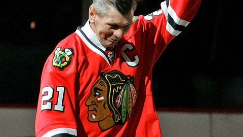<p>               FILE - In this March 7, 2008, file photo, Chicago Blackhawks great Stan Mikita waves to fans as they as he is introduced before an NHL hockey game against the San Jose Sharks in Chicago. Mikita, who played for the Blackhawks for 22 seasons, becoming one of the franchise's most revered figures, has died, the Blackhawks announced Tuesday, Aug. 7, 2018. He was 78. (AP Photo/Brian Kersey, File)             </p>