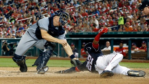 <p>               Washington Nationals' Juan Soto, right, is tagged out at home by Milwaukee Brewers catcher Erik Kratz during the fourth inning of a baseball game at Nationals Park, Friday, Aug. 31, 2018, in Washington. (AP Photo/Alex Brandon)             </p>