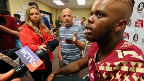 <p>               Florida State quarterback Deondre Francois answers questions during the NCAA college football media day Sunday, Aug. 19, 2018, in Tallahassee, Fla. (AP Photo/Phil Sears)             </p>