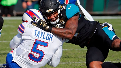 <p>               FILE - In this Jan. 7, 2018, file photo, Jacksonville Jaguars defensive end Yannick Ngakoue, right, draws a penalty by hitting Buffalo Bills quarterback Tyrod Taylor (5) with helmet-to-helmet contact in the first half of an NFL wild-card playoff football game, in Jacksonville, Fla. The Jaguars have suspended All-Pro cornerback Jalen Ramsey and defensive end Dante Fowler for violating team rules and conduct unbecoming a Jaguars football player. Fowler was involved in several fights, including one after practice with Ngakoue. (AP Photo/Stephen B. Morton, File)             </p>