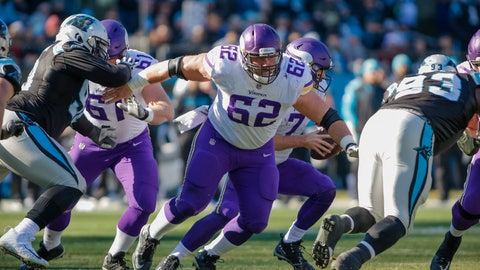 <p>               FILE - In this Dec. 10, 2017, file photo, Minnesota Vikings' Nick Easton (62) moves to block a Carolina Panthers player during the first half of an NFL football game in Charlotte, N.C. The Vikings say Easton's neck injury has put him on the injured reserve list, likely ending his season. Coach Mike Zimmer says Easton, who has not practiced since Aug. 3, 2018, has a bulging disc in his neck.(AP Photo/Bob Leverone, File)             </p>