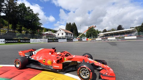<p>               Ferrari driver Sebastian Vettel of Germany steers his car during a practice session ahead of the Belgian Formula One Grand Prix in Spa-Francorchamps, Belgium, Saturday, Aug. 25, 2018. The Belgian Formula One Grand Prix will take place on Sunday, Aug. 26, 2018. (AP Photo/Geert Vanden Wijngaert)             </p>