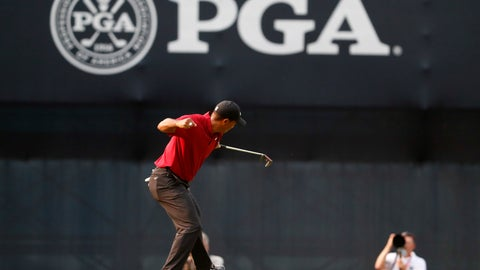 <p>               Tiger Woods celebrates his birdie putt on the 18th green during the final round of the PGA Championship golf tournament at Bellerive Country Club, Sunday, Aug. 12, 2018, in St. Louis. (AP Photo/Jeff Roberson)             </p>