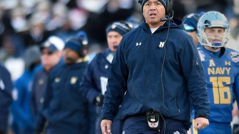 <p>               FILE- In this Dec. 28, 207, file photo, Navy head coach Ken Niumatalolo watches from the sideline in the first half of the Military Bowl NCAA college football game in Annapolis, Md. Navy is handing the keys to its triple-option offense to Malcolm Perry. Perry was the starting slotback for eight games last season before Niumatalolo switched him to quarterback to spark a struggling offense. (AP Photo/Gail Burton, File)             </p>