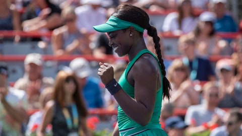 <p>               Sloane Stephens of the United States celebrates her victory over Anastasija Sevastova of Latvia during quarterfinals play at the Rogers Cup tennis tournament Friday, Aug. 10, 2018 in Montreal. (Paul Chiasson/The Canadian Press via AP)             </p>