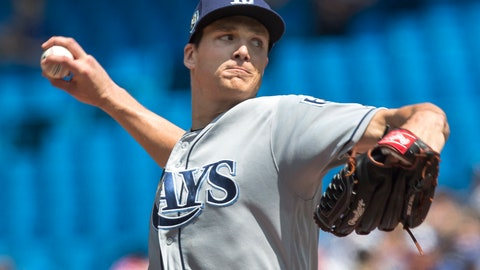 <p>               Tampa Bay Rays starting pitcher Tyler Glasnow throws against the Toronto Blue Jays in the first inning of a baseball game in Toronto on Sunday Aug. 12, 2018. (Fred Thornhill/The Canadian Press via AP)             </p>