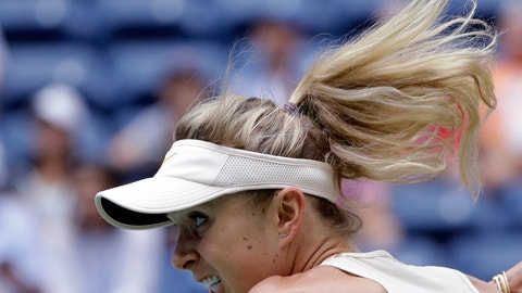 <p>               Elina Svitolina, of Ukraine, returns a shot to Qiang Wang, of China, during the third round of the U.S. Open tennis tournament, Friday, Aug. 31, 2018, in New York. (AP Photo/Seth Wenig)             </p>